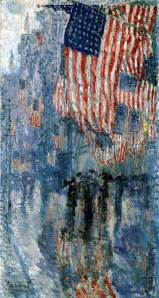 Fifth Avenue in the Rain.  Frederick Childe Hassam.  1917.